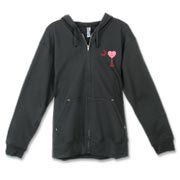 A Candy Heart Palmetto Moon Canvas Freemont Full-Zip Hoodie with Be Mine! Perfect for Valentine's Day, it features a pink candy heart on the South Carolina Palmetto Moon with Be Mine.