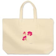 Red Roses Canvas Zipper Tote