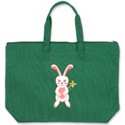 Celebrate Chinese New Year with this cute year of the metal rabbit tote bag! This rabbit is happily carrying a red and gold pinwheel with bells! Also a great gift for someone who just loves rabbits! Red on front and pink on the back.