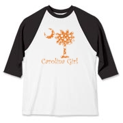 Carolina Girls and polka dots, a great combination! Get your Orange Polka Dot Carolina Girl Baseball Jersey with an orange South Carolina palmetto moon.