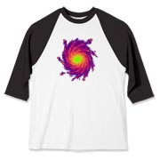 This colorful art baseball jersey is a whirlpool of complementing colors.