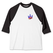 This bowling baseball jersey with stars and stripes pocket emblem design shows bright colored bowling pins and a colorful bowling ball, all wrapped in stars and stripes.