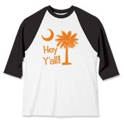 Say hello with the Orange Hey Y'all Palmetto Moon Baseball Jersey. It features the South Carolina palmetto moon.