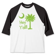 Say hello with the Lime Green Hey Y'all Palmetto Moon Baseball Jersey. It features the South Carolina palmetto moon.