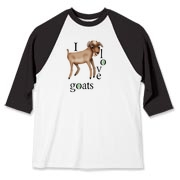 Cartoon goat with words I love goats