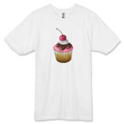 An oil pastel illustration of a cupcake with pink and chocolate icing and a pink cherry on top.