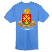 158th Artillery, MLRS - American Apparel Dark Color 50/50 Tee: Front & Back Insignia, Available in 4 Dark Colors.