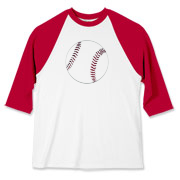 This adult Baseball Jersey features a baseball on the center front of the shirt.