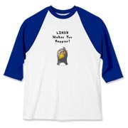 This computer geek baseball jersey touts the popularity of the Linux operating system with an image of a computer nerd penguin saying Linux Makes You Happier!
