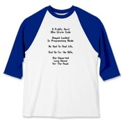 Here's a satirical Linux geek baseball jersey that uses a witty limerick to describe the tribulation and woes of being too much a computer geek.