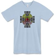 Wild Apple Blossoms form a celtic cross with green and red knotwork.  A red apple sits at the center.