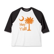 Say hello with the Orange Hey Y'all Palmetto Moon Kids Baseball Jersey. It features the South Carolina palmetto moon.