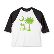 Say hello with the Lime Green Hey Y'all Palmetto Moon Kids Baseball Jersey. It features the South Carolina palmetto moon.