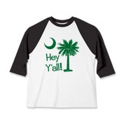 Say hello with the Green Hey Y'all Palmetto Moon Kids Baseball Jersey. It features the South Carolina palmetto moon.