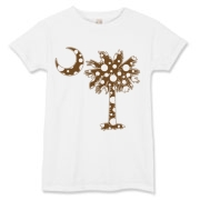 Chocolate Brown Polka Dot Palmetto Moon Women's T-Shirt features a chocolate brown palmetto moon with white polka dots. Buy this fun variation on the South Carolina palmetto moon flag today!