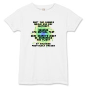 This lady's whimsical physics limerick t-shirt describes the discovery that dark energy is increasing the rate of expansion of the universe. Study Physics? Then you'll enjoy this.
