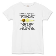 This lady's funny Huygens Probe t-shirt uses a witty limerick to tell of the Huygens probe adventure. It shows a depiction of Saturn and its giant moon Titan.