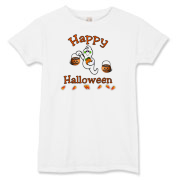 Happy Halloween ghosts, black cats and candy corn trick or treat bags, adult tee's and kids apparel including Halloween gift ideas.  Browse our store for more gifts at: <a href=http://www.bonfiredesigns.com/halloween.htm> Halloween Gifts and Decorations