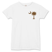 A chocolate brown palmetto and crescent moon. The palmetto is a symbol of South Carolina pride. Buy the chocolate brown palmetto moon printed in the pocket area of a t-shirt, sweatshirt, or other apparel item.