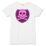 Pink skull and crossbones inside a dark maroon badge.