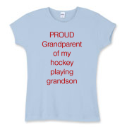 Proud of hockey grandson Women's Fitted Baby Rib T