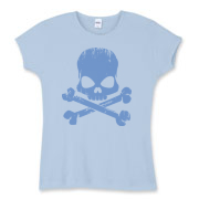 Blue Skull Women's Fitted Baby Rib Tee
