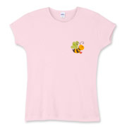 Bee w/Logo on Back, Women's Fitted Baby Rib Tee