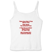 This women's comical cosmology limerick spaghetti strap top gives in rhyme a quick recount of the evolution of the universe, from the Big Bang beginning to the creation of mankind.