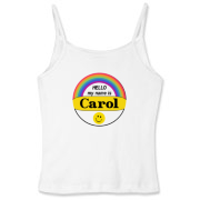 Hello My Name is Carol button look Women's Fitted spaghetti strap top.