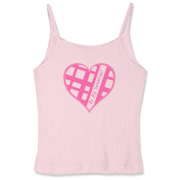 Be My Valentine? Pink plaid heart Women's Fitted Spaghetti Strap Tank