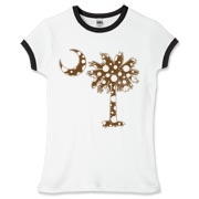 Chocolate Brown Polka Dot Palmetto Moon Women's Fitted Ringer Tee features a chocolate brown palmetto moon with white polka dots. Buy this fun variation on the South Carolina palmetto moon flag today!