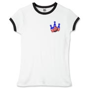 This women's bowling ringer tee with patriotic pocket emblem design shows bright colored bowling pins and a colorful bowling ball, all wrapped in stars and stripes.