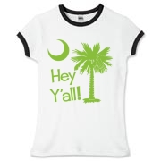 Say hello with the Lime Green Hey Y'all Palmetto Moon Women's Fitted Ringer Tee. It features the South Carolina palmetto moon.