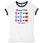 A same sex marriage / marriage equality design. Man plus woman equals love. Man plus man equals love. Woman plus woman equals love. Any questions?
