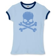 Blue Skull Women's Fitted Ringer Tee