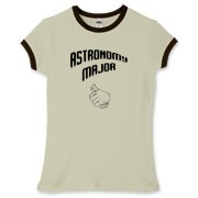 This women's clever astronomy ringer tee shows a thumb's up gesture, indicating that the proud wearer is an astronomy major.