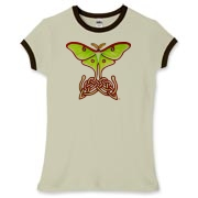 Celtic Lunar Moth Women's Fitted Ringer Tee