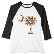 Chocolate Brown Polka Dot Palmetto Moon Women's Fitted Baseball Tee features a chocolate brown palmetto moon with white polka dots. Buy this fun variation on the South Carolina palmetto moon flag today!