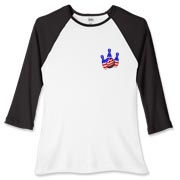 This women's bowling baseball tee with stars and stripes pocket emblem design shows bright colored bowling pins and a colorful bowling ball, all wrapped in stars and stripes.