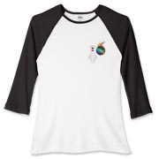 This women's funny extreme bowler baseball tee has a pocket-sized emblem that shows a bowling pin in total terror as a flaming bowling ball chases it down.