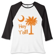Say hello with the Orange Hey Y'all Palmetto Moon Women's Fitted Baseball Tee. It features the South Carolina palmetto moon.