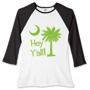 Say hello with the Lime Green Hey Y'all Palmetto Moon Women's Fitted Baseball Tee. It features the South Carolina palmetto moon.