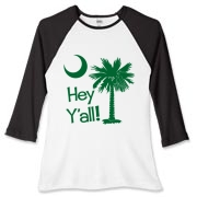 Say hello with the Green Hey Y'all Palmetto Moon Women's Fitted Baseball Tee. It features the South Carolina palmetto moon.