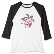 Winged Turtle - Purple Women's Fitted Baseball Tee
