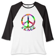 A peace symbol and the word Peace in a multicolored pattern.