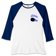 This women's nifty astronomy baseball tee pocket emblem is perfect for the astronomer who prefers to do his stargazing with a refractor. It says: Astronomer, and has a depiction of a refractor telescope.