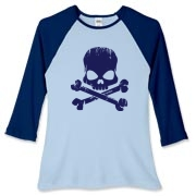 Navy Skull Women's Fitted Baseball Tee