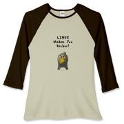 This women's funny Linux baseball tee touts the freely available Linux operating system with an image of a computer nerd penguin saying Linux Makes You Richer!