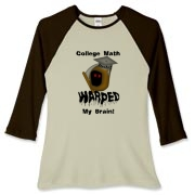 This women's funny college math baseball tee says: College Math Warped My Brain! It includes an image of the Draconian math teacher -- the Grim Reaper.