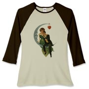 Colorful Victorian design - a silver moon, with two lovers sitting on it, an a heart hanging from the tip. A design for lovers and romantics.